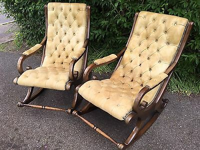 Vintage Pair Of Leather Chesterfield Rocking Slipper Armchairs