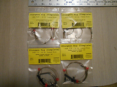 Lot  of 4, Hayward Fishing Supplies Sturgeon Rigs. 2-Hook, Size 5/0 and 7/0