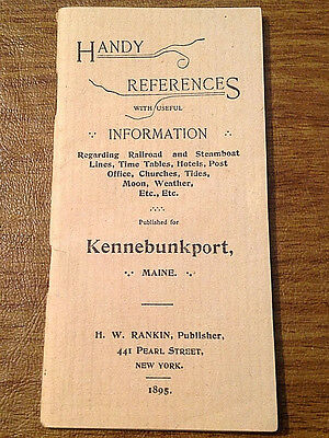 Handy References Kennebunkport ME 1895 Rankin Railroad & Steamboat Tables, Ads