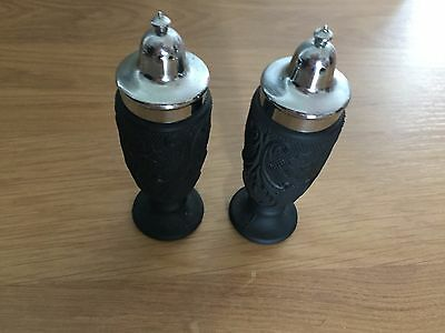 Black Glass Antique Salt and Pepper Shakers