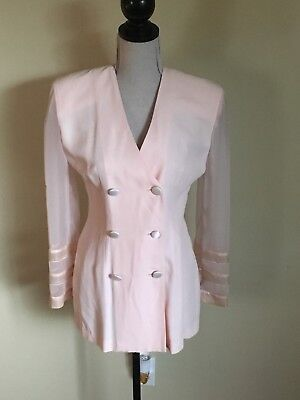 Vntge 80s Joseph Ribkoff Pale Pink Double Breasted Blazer With Sheer Sleeves Sz6