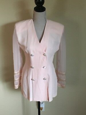 Vtg 80s Joseph Ribkoff Pink Double Breasted Blazer W/ Sheer Sleeves Sz6 Clueless