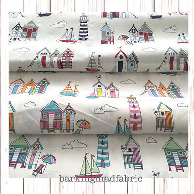 100% Cotton Nautical Fabric Seaside Beach Huts Fabric FQ Metre Fat Quarter