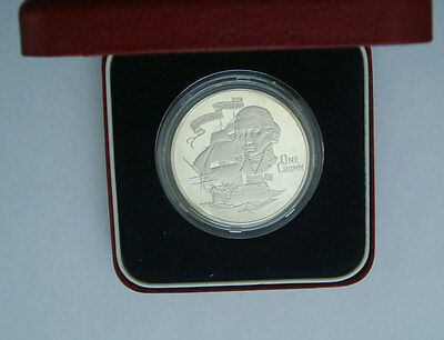 Gibraltar Silver Crown 1980 Silver Proof 175th Anniversary  Death of Nelson