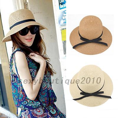 Ladies Wide Straw Foldable Travel Sun Hat Summer Beach Caps Bowknot