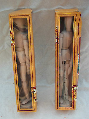2x 30cm Wooden Artists Mannequin - Moveable Lay Figure Drawing Model