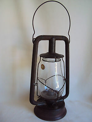 Vintage Tin/metal Glass Chimney Oil Kerosene Lamp Lantern W/label Made In U.s.a