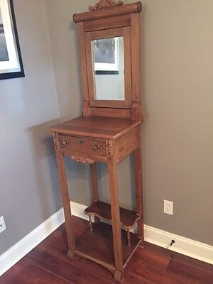 Antique solid oak American shaving stand