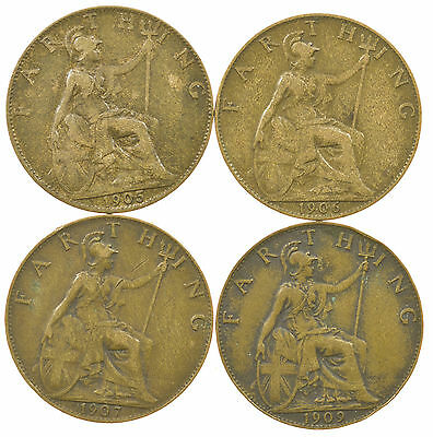 Great Britain, Edward Vii Farthing, 4 Coins, 1905-1909