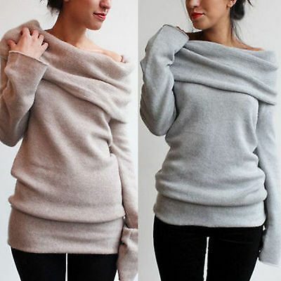 Womens Casual Off Shoulder Long Sleeve Jumper Sweater Slim Knitted Tops Outwear
