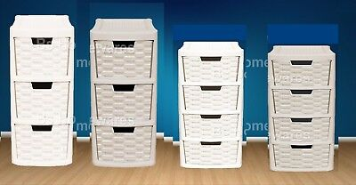 Plastic Rattan Drawer Storage Unit Cabinet  Small & Medium Office School Home