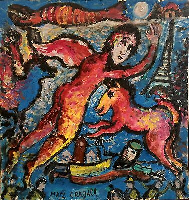 Marc Chagall Signed Original Judaica Painting on Board, c. 1960