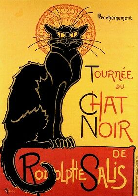 """printed in Japan large vintage BLACK CAT photograph poster Holbein 14.5x40.5/"""""""
