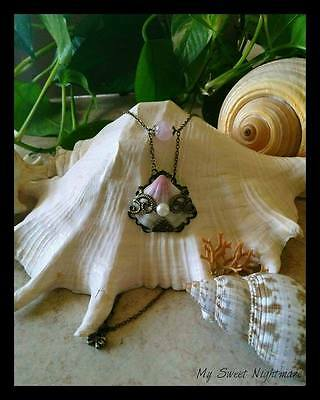 Collana con conchiglia e quarzo rosa seashell necklace rose quartz pendant