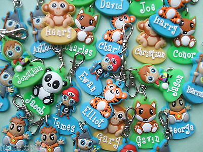 PERSONALISED ZIPPER PALS - BOY - Keyring, charm, zip puller  *NOW ONLY 99p EACH*