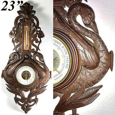 Antique 19th C. Hand Carved Black Forest Barometer with Swans, Unusual Theme