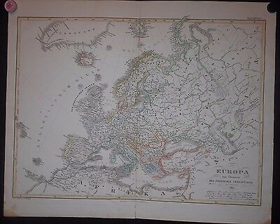 Europe 1861 Map By Perthes Hand Color Great Britain Scandinavia France Spain