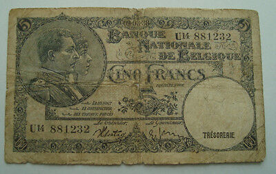 Belgium Banknote 5 Francs 1930  Circulated Paper Money Bank Note