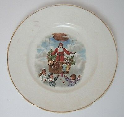 Antique SANTA CLAUS HOT AIR BALLOON CHRISTMAS POTTERY PORCELAIN PLATE