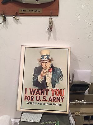 Original Vintage I Want You Uncle Sam Recruitment Poster - 1975 - Genuine - Army