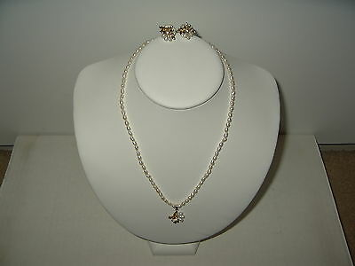 Vintage Freshwater Baroque Seed Pearl Single Strand Necklace Pendant & Earrings