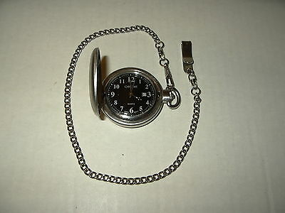 Signed CHEROKEE Brushed Silvertone Men's Quartz Pocket Watch & Chain