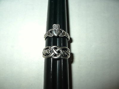 2 Vintage 925 Sterling Silver Celtic Knot & Claddagh Rings - Size 6