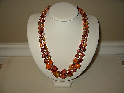 Vintage 2 Strand Autumn Colors Orange-Rust-Red-Gold Beads Necklace