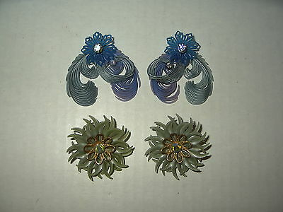 2 Pair 50's Vintage Blue & Green Soft Plastic & Crystal Flower Clip Earrings