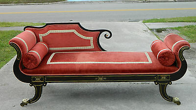 Mahogany Federal Grecian Lounge Fainting Couch Recamier with Bronze Mounts c1800