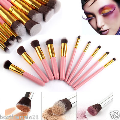 10pcs Pink Gold Kabuki Style Blusher Face Powder Foundation Make up Brush Set