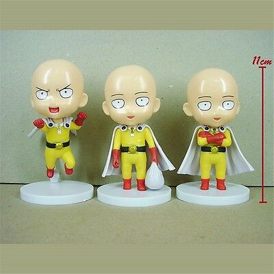 "3pcs Set Anime One Punch Man Saitama 10cm/4"" PVC Mini Figure w Base Loose Pack"
