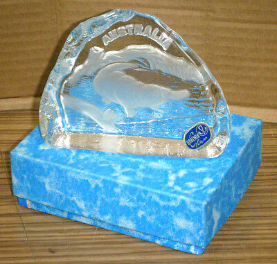 Vintage Boxed Bohemia Crystal Australia Platypus Glass Paperweight