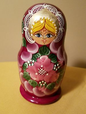 Nesting Dolls Solid Wood Russian Hand Painted with Golden Detail