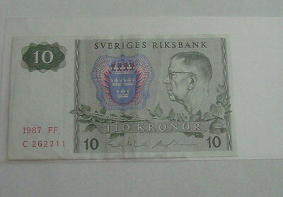 Sverige Sweden Ten Crowns Banknote 1987 circ