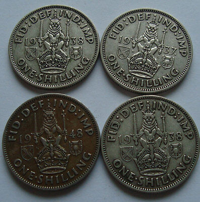 GREAT BRITAIN 3x0.091 TROY OUNCE SILVER/COIN AND 1 SHILLING Copper Nickel '48