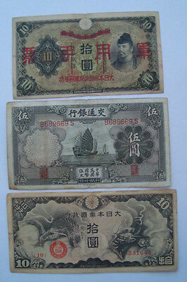 JAPANESE WWII INVASION 3 BANKOTES LOT OCUPATION INDO-CHiNA 1938 1940 1935 CIRC