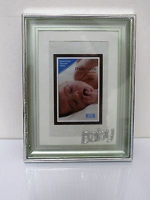silver/sage metal baby picture frame  holds 4X6 photo