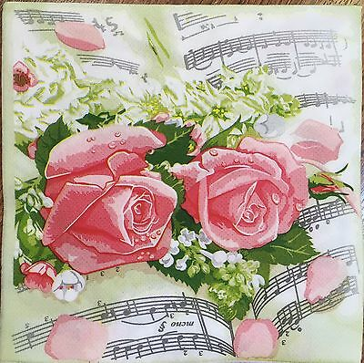 2 single paper napkin Decoupage Scrapbooking Collection Flowers Roses Notes