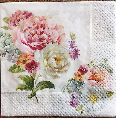 2 single paper napkins decoupage collection Scrapbooking Crafts Shabby Flowers