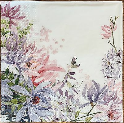 2 single paper napkins Decoupage Craft or Collection Shabby Roses Pretty Flowers