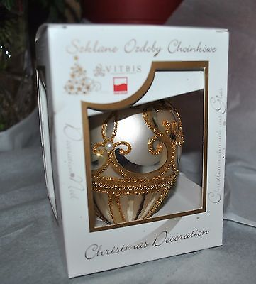 New VITBIS Mouth Blown Glass FABERGE EGG Ornament GOLD PEARL RUBY CRYSTALS PL