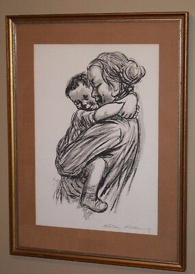 Vintage Kathe Kollwitz Art Lithograph Print of Mother and Child Painting Framed