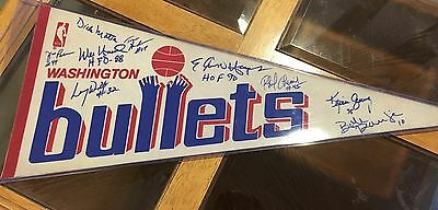Vintage Washington Bullets Pennant Signed By Grevey, Hayes, Unseld, Motta, More