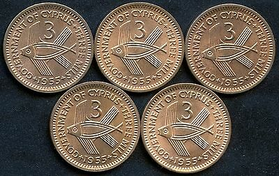 Lot of 5 1955 Cyprus 3 Mil Coins