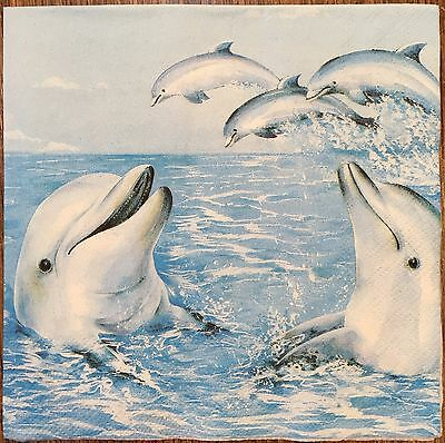 2 single paper napkins decoupage scrapbooking collection Water Sea Fish Dolphins