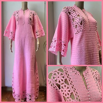 VINTAGE Retro HAND MADE Candy Pink CROCHET MAXI DRESS Hostess Gown