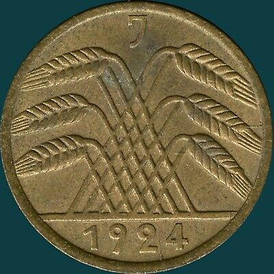 """Germany 1924 """"J"""" 5 Pfenning Coin ( DIE CRACK BY DATE )"""