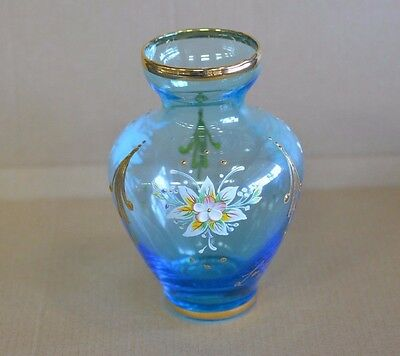 Lovely Old Signed Hand Painted Enamel Flowers Art Glass Vase.