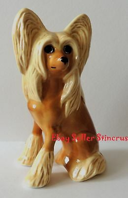 Chinese Crested dog Grey color RARE. Author's Porcelain figurine + Gift Box. NEW